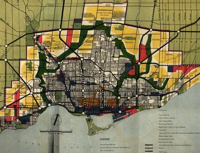 Map of the 1943 Master Plan, showing strict demarcation of urban rural, projected populations, rough concepts for an super highway system, rapid transit line, and inner greenbelt parkland  Original from the Royal Architectural Institute of Canada, via UBC Press' online supplements to Planning Toronto