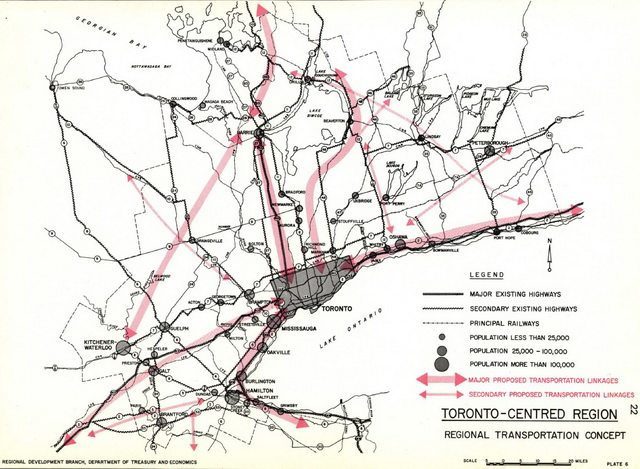 Map of showing conceptual transportation linkages in the provincial government's failed Toronto Centred Region scheme (1970)  Via UBC Press' online supplements to Planning Toronto