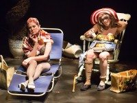 Lisa Horner, left, as Little Edie and Nicola Lipman as her mother, Big Edie, bask in the sun in a scene from Acting Up Stage's production of Grey Gardens. Photo by Racheal McCaig Photography.