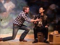 TJ Riley and  Jonathan Tan in a scene from Soulpepper Theatre's production of Cowboy Versus Samurai, part of the company's Studio Series. Photo by Cylla von Tiedemann.