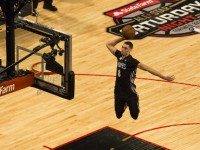 Zach LaVine dunks from the free throw line at last night's slam dunk competition.