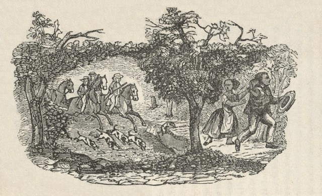 An illustration of an attempted escape by Henry Bibb, his first wife, Malinda, and their daughter Frances from his book Narrative of the Life and Adventures of Henry Bibb, an American Slave  (via Wikimedia Commons)