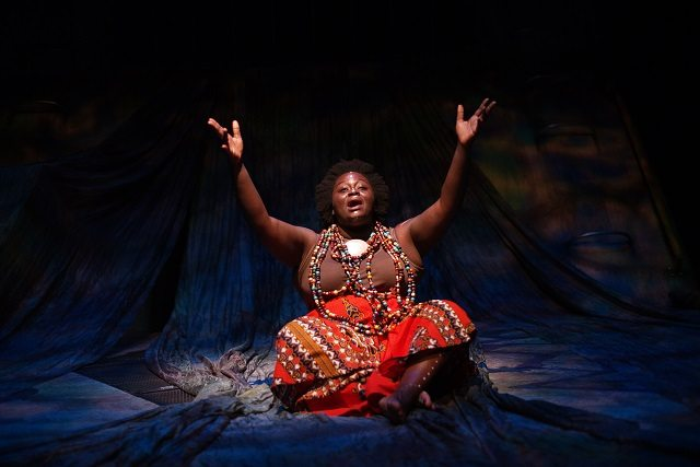 "Akosua Amo Adem portrays Sarah Baartman, the 19th century ""Hottentot Venus,"" in Obsidian Theatre's production of Venus' Daughter  Photo by Lyon Smith"
