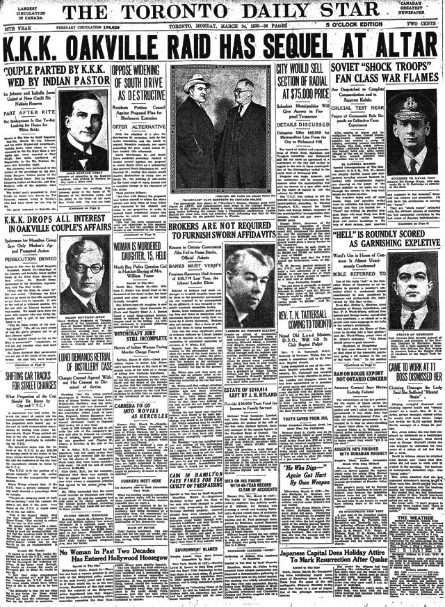 Front page, Toronto Star, March 24, 1930
