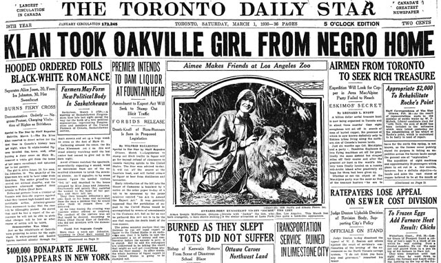 "Front page excerpt, Toronto Star, March 1, 1930  Note that the Star mostly referred to Isabel Jones as ""Alice"" and Ira Johnson as ""Johnston """