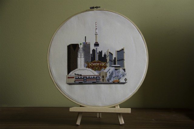 Elaborate cross stitch and photo by Ben Brommell
