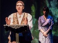 Evalyn Parry, left, as avant-garde author Gertrude Stein and Anna Chatterton as her wife, Alice B. Toklas, in a scene from Gertrude and Alice at Buddies in Bad Times Theatre. Photo by Jeremy Mimnagh.