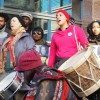 Drummers set the beat for the protest.