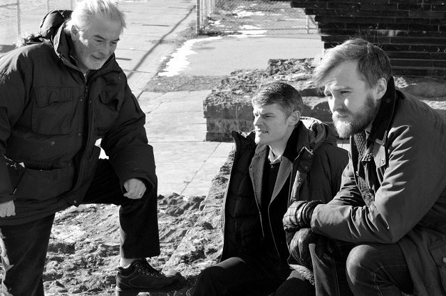 Actors (left to right) Patrick Monaghan, David Mackett, and Anthony MacMahon in a promotional shot for Fly on the Wall's Port Authority  Photo by Richard Van Dine
