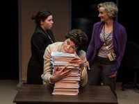 Common Boots and Nightwood Theatre's The Public Servant stars, from left to right, Amy Keating, Amy Rutherford, and Sarah McVie as federal employees. Photo by Neil Silcox.