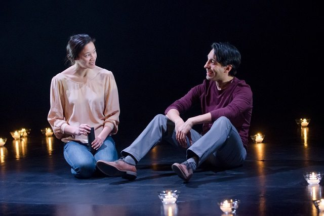 Mayko Nguyen and Kawa Ada in a scene from Factory Theatre's current revival of David French's Salt Water Moon  Photo by Joseph Michael Photography