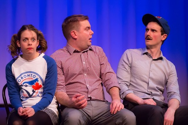 Kirsten Rasmussen, Kevin Whalen, and Kyle Dooley send up the Blue Jays bandwagon in a sketch from The Second City's The Hotline Always Blings Twice  Photo by Racheal McCaig