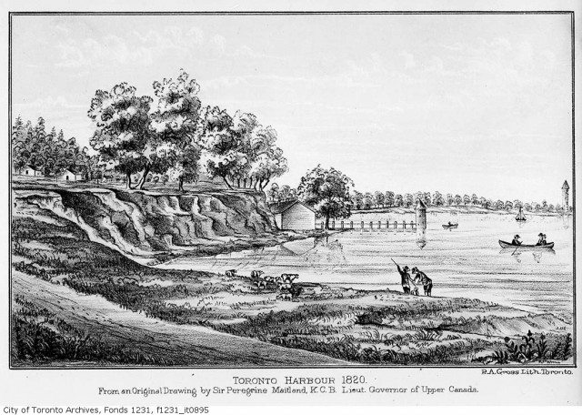 Toronto Harbour as it looked in 1820  Givins would already have lived in Toronto for decades and seen many changes in the town  	 City of Toronto Archives, Fonds 1231, Item 895