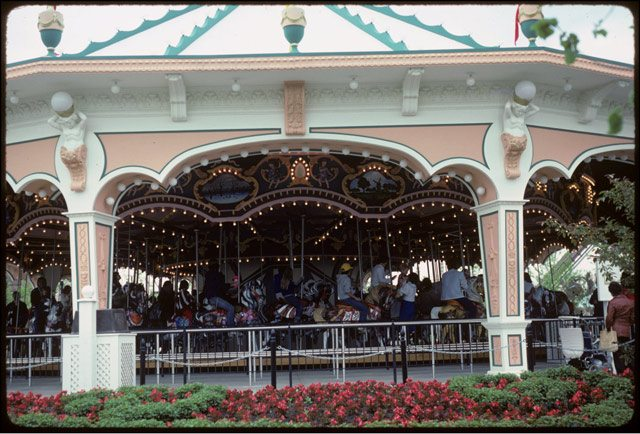 View of carousel and surrounding flower beds at Canada's Wonderland, June 8, 1981. Photo by Harvey R. Naylor.  City of Toronto Archives, Fonds 1526, File 98, Item 5.