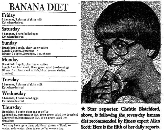 Left: a summary of the Banana Diet, Toronto Star, July 20, 1978. Right: the photo which accompanied day five's account. Toronto Star, July  29, 1978.