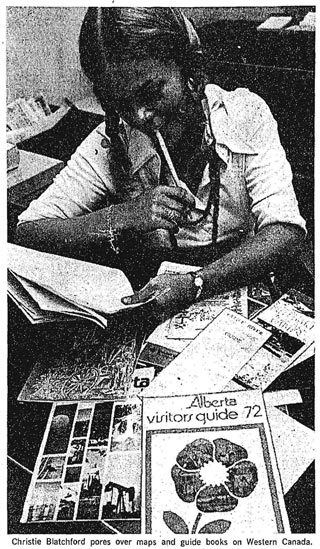 The earliest visual we could find of Christie Blatchford in a Toronto newspaper, posing for an article on travel planning. Globe and Mail, July 22, 1972.