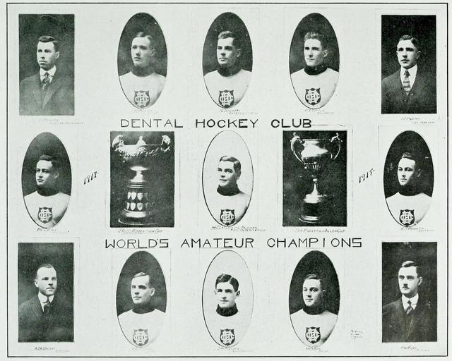 The Toronto Dentals, with both the J. Ross Robertson Cup and the Allan Cup. The Hya Yaka, April 1917.