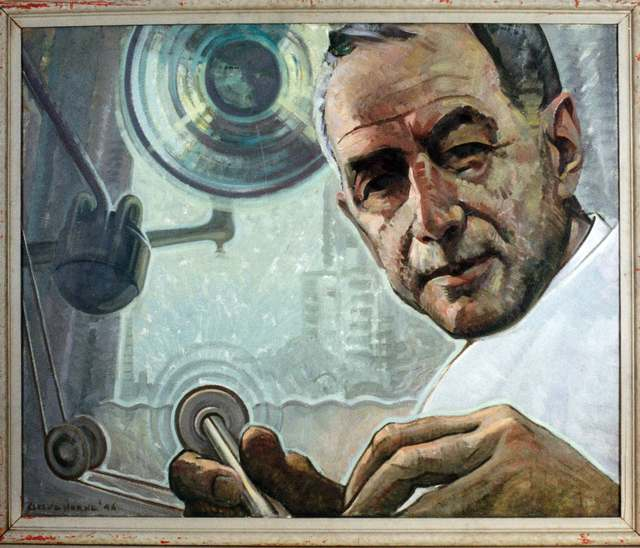 Dr. Mac Sheldon, later in life, as would be seen from the dentist's chair.  Painted by noted Canadian portrait artist Cleeve Horne.  Image courtesy of the Harry R. Abbott Memorial Library, University of Toronto Faculty of Dentistry.