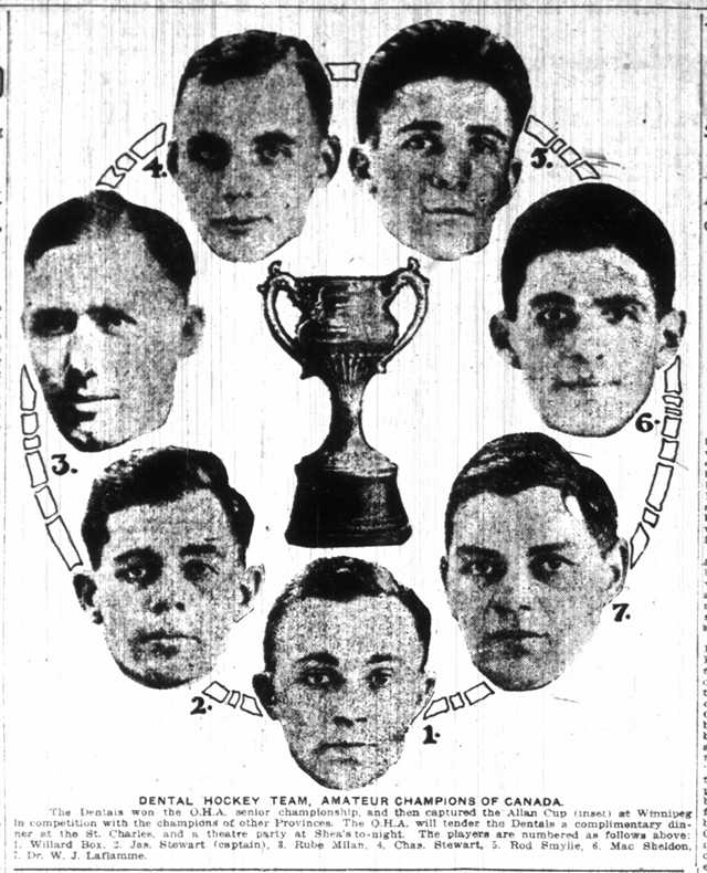 The Toronto Dentals team which won the Allan Cup in 1917.  The Toronto Star, April 2, 1917.