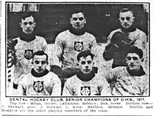 Six of the 1917 Toronto Dentals.  Clockwise, from top left: Rupert Millan, Joe LaFlamme, Willard Box, Mac Sheldon, Jimmy Stewart, and Charlie Stewart.  The Toronto Star, March 8, 1917.