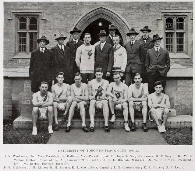 The University of Toronto Track Club, 1919—1920.  Rod Smylie is fourth from the left in the back row, in the white sweater.  Torontonensis, 1920.