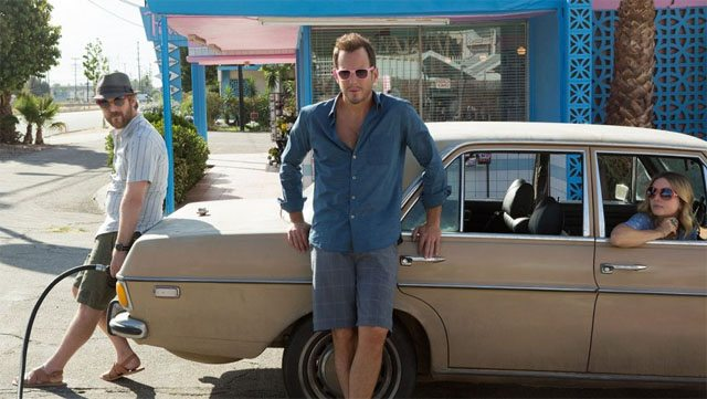 You just know someone decided Will Arnett wearing pink-frame sunglasses was a joke all by itself.