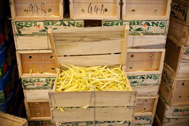 Crates of yellow beans for sale at the OFT.