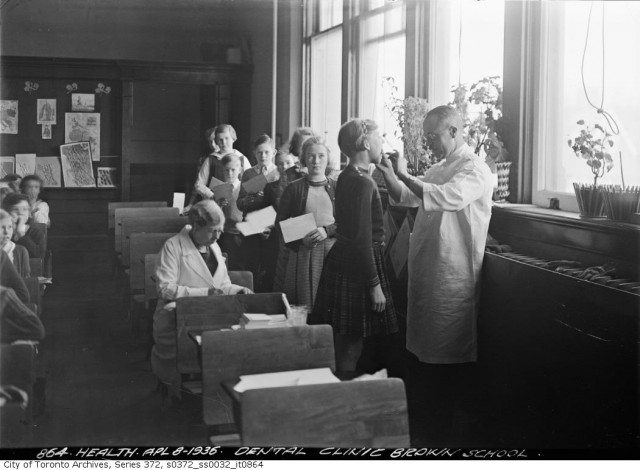 This dental check up at Brown School in 1936 is part of the legacy of John G.C. Adams, who advocated for better oral health for children. Source: Toronto City Archives.