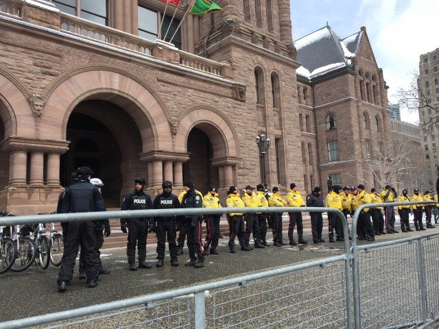 Police formed a line in front of Queen's Park as Black Lives Matter protester gathered outide.