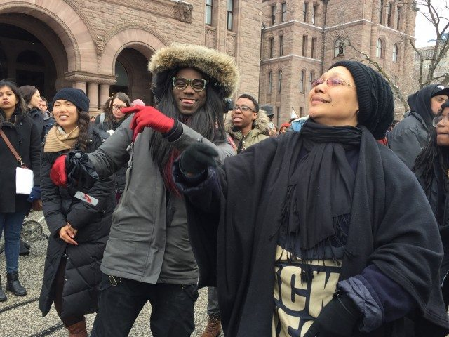 Raven Wings and Gloria Swain dance celebrate at Queen's Park.