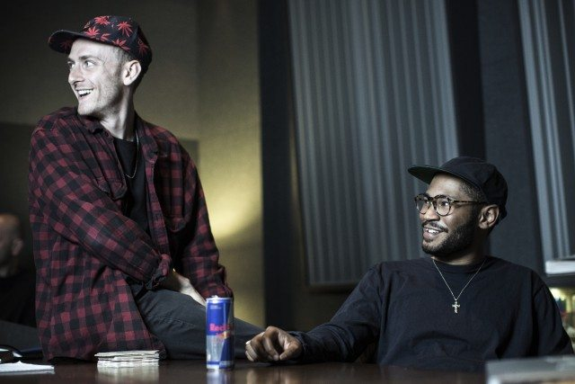 River Tiber and Kaytranada record at the Red Bull Studio Los Angeles, in Santa Monica, CA, USA on 22 November 2015.