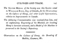 William Bond's report on hemp. Royal Society of Arts, Transactions of the Society Instituted at London for the Encouragement of Arts, Manufactures, and Commerce, 24(1807): 143-58.