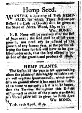 William Bond's advertisement for hempseed and hemp seedlings, Upper Canada Gazette, April 19, 1809