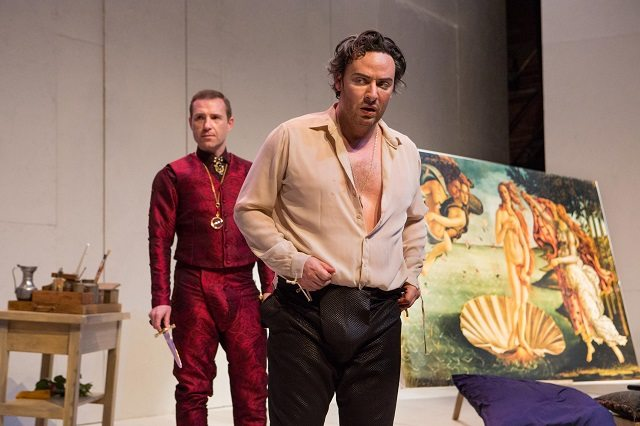 Christopher Morris, left, as Lorenzo de' Medici and Salvatore Antonio as Sandro Botticelli in Jordan Tannahill's Botticelli in the Fire at Canadian Stage. Photo by Cylla von Tiedemann.