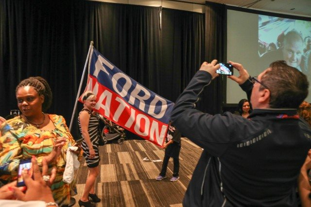 A Ford Nation flag at Rob Ford's memorial. Photo by Christopher Drost.
