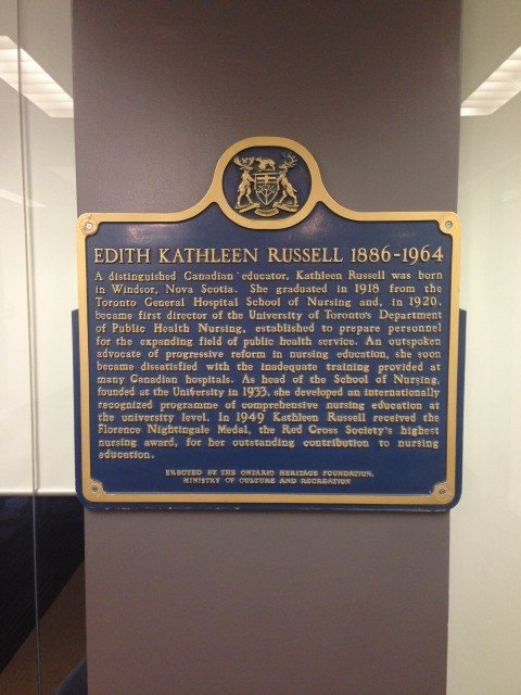 Russell's plaque at the Faculty of Nursing. Photo from Dave Ross/University of Toronto.