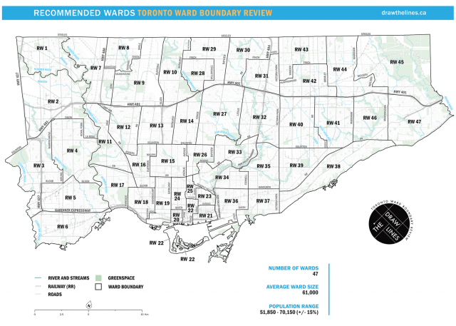 Map of recommended wards, from the Toronto Ward Boundary Review