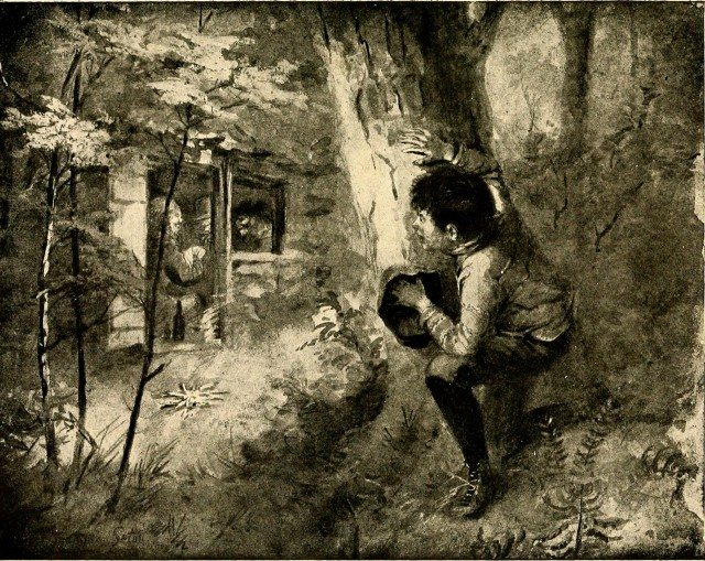 Seton's sketch from Two Little Savages shows Yan coming across the men in his hideout. Image via Wikimedia Commons.