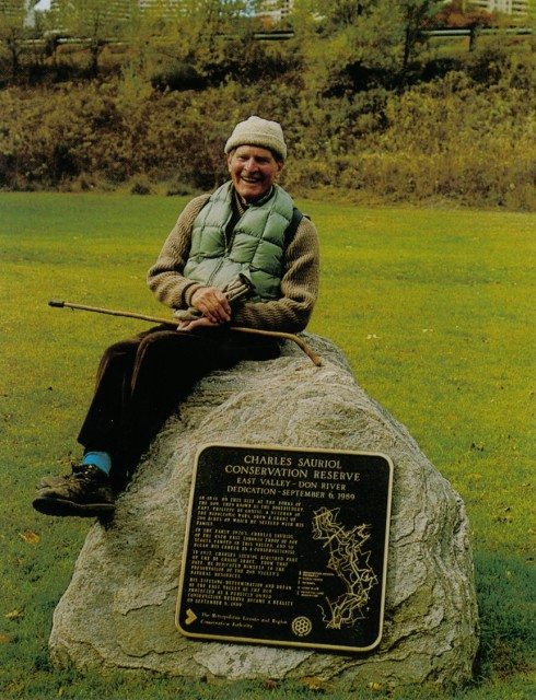 Charles Sauriol  at the conservation reserve named for him. Photo courtesy of ©Toronto and Region Conservation (TRCA).