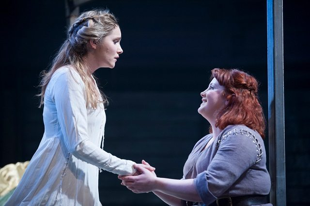 Rosemary Boyle as Queen Joan and Sally Reid as Meg in a scene from James I. Photo by Tommy Ga-Ken Wan.