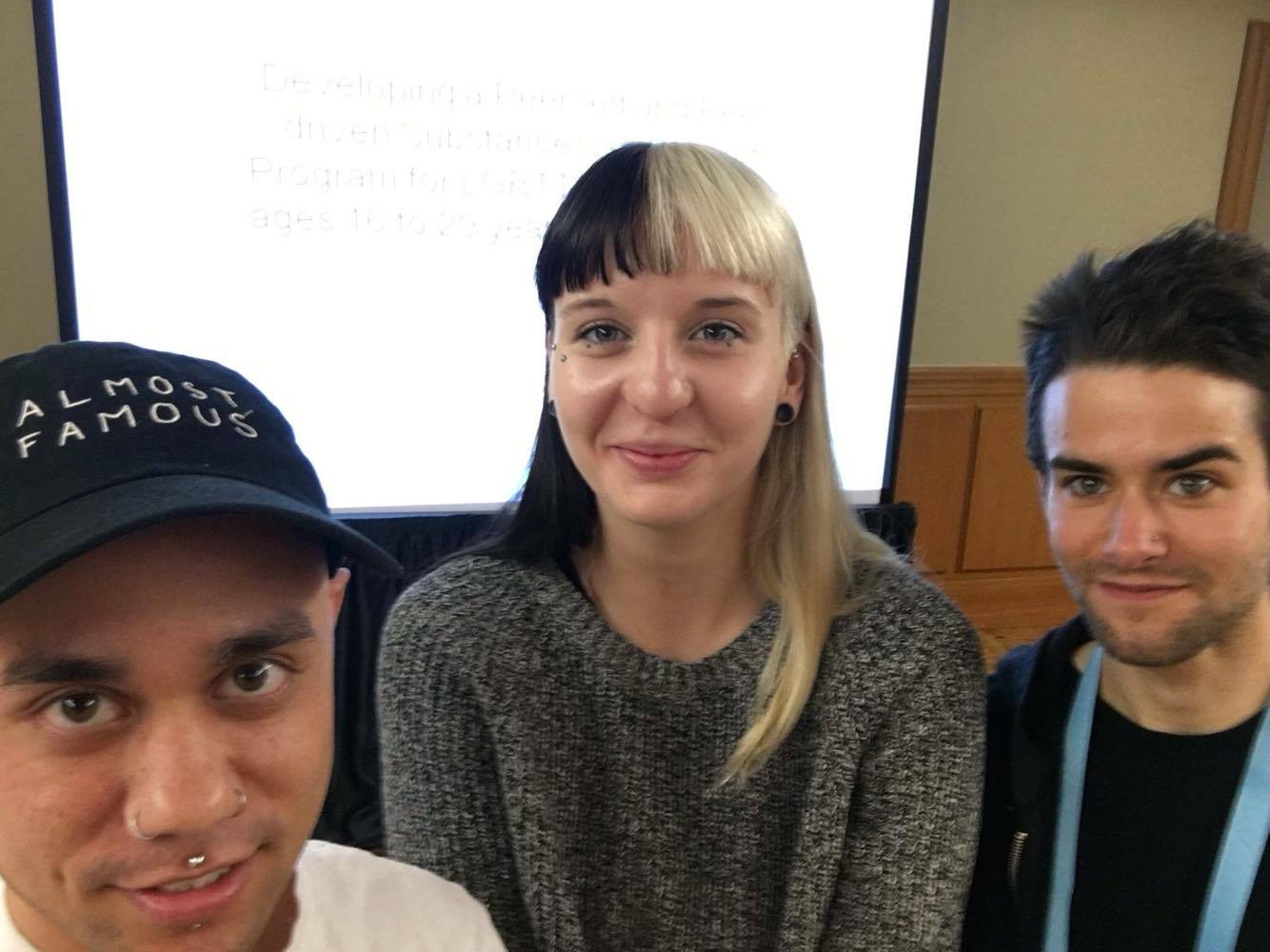 Pieces to Pathways' Geoff Wilson and Tim McConnell, with Amelia Janusas, a  placement student from the Assaulted Women and Children's Counselling/Advocacy Program at George Brown College.