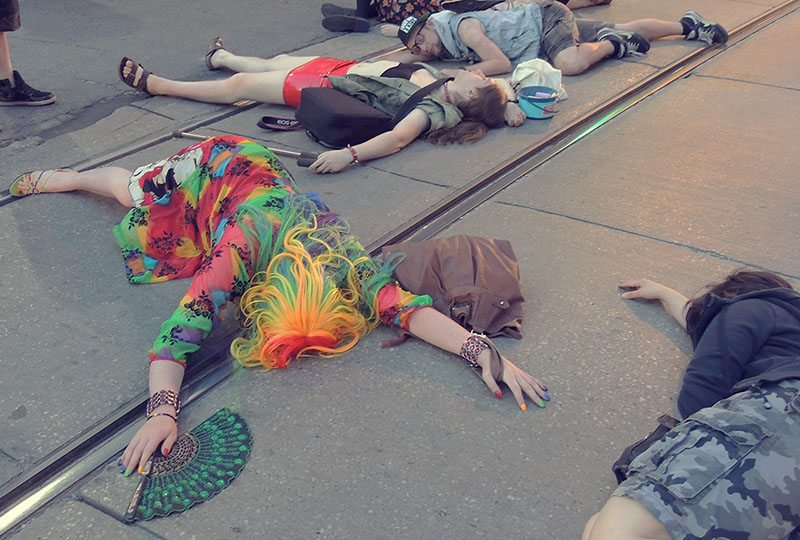 2015 trans die-in. Photo by Erica Lenti.