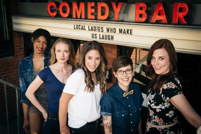 Torontoist's 2016 LLWMUL—Aisha Brown, Kaitlin Morrow, Jackie Pirico, DeAnne Smith, and Jocelyn Geddie—have all (save for Geddie, busy writing on a TV series) appeared on JFL42 stages this year. Photo by Corbin Smith/Torontoist.