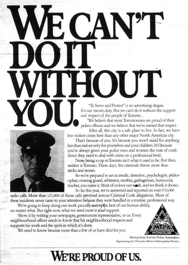 Ad for Metropolitan Toronto Police Association, Toronto Sun, September 12, 1979.