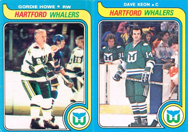 1979-80 O-Pee-Chee hockey cards of Gordie Howe and Dave Keon.