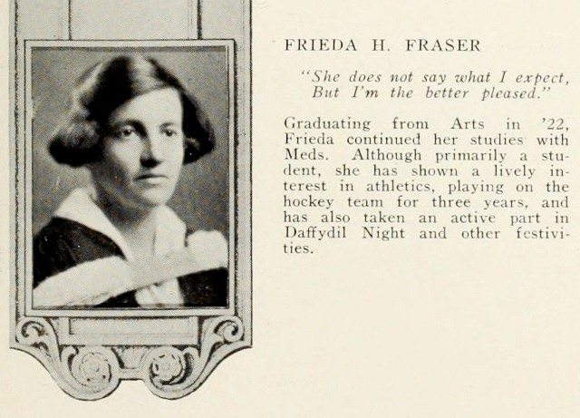 Frieda Fraser, upon graduating from the Faculty of Medicine.  Torontonensis, 1925.