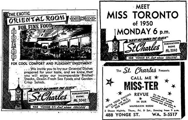 Clockwise: Toronto Star, August 17, 1950; Globe and Mail, August 26, 1950; Toronto Star, January 26, 1966.