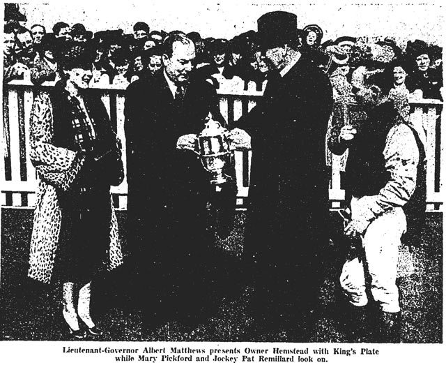 "Charles Hemstead being rewarded at the 1943 King's Plate, as ""America's Sweetheart"" Mary Pickford looks on, Globe and Mail, May  24, 1943."