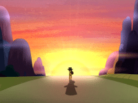 We wanted a screencap from a TV show with a dramatic walk into the sunset, but all we could manage is this still from MY LITTLE PONY: FRIENDSHIP IS MAGIC. It will have to do. If you are bothered by this, please pretend the pony is a lonesome but noble cowboy.