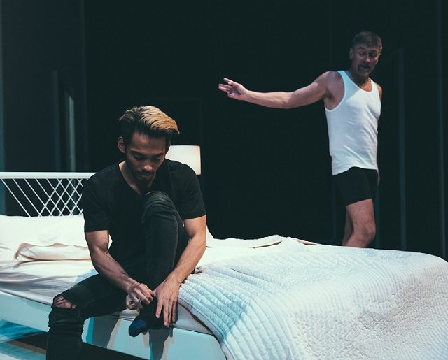 "Aldrin Bundoc as Josh and Geordie Johnson as Phillip in a ""present day"" scene from Body Politic. Photo by Jeremy Mimnagh."